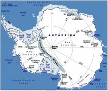 A map showing the size of Antarctica.