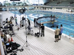 Filming swimmer Ian Thorpe with a Bullet-cam rig.