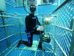 World Cricket cup underwater